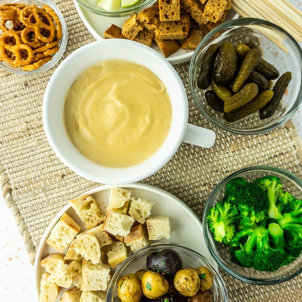 Vegan Cheese Fondue and Accompaniments